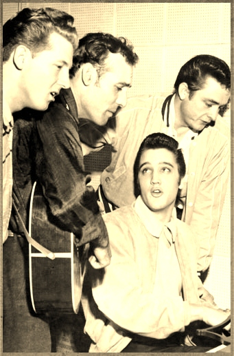 Elvis Presley, Johnny Cash, Jerry Lee Lewis and Carl Perkins